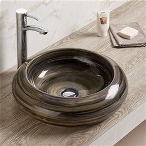 American Imaginations Vessel Bathroom Sink - Round Shape - 19.3-in x 19.3-in - Black
