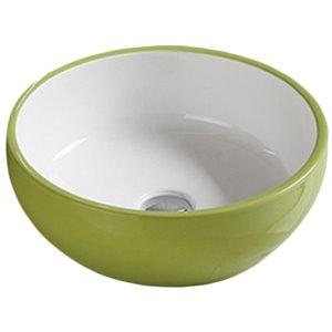 American Imaginations Vessel Bathroom Sink - Round Shape - 16.14-in - Green/White