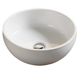 American Imaginations Vessel Bathroom Sink - Round Shape - 16.14-in - White