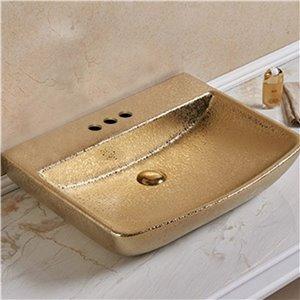 American Imaginations Vessel Bathroom Sink - Rectangular Shape - 23.62-in - Gold