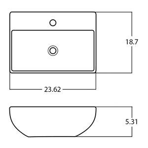 American Imaginations Vessel Bathroom Sink - Rectangular Shape - 23.62-in x 18.7-in - Silver