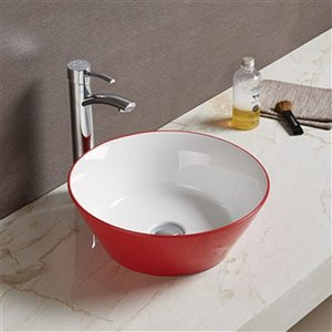 American Imaginations Vessel Bathroom Sink - Round Shape - 15.9-in - Red/White