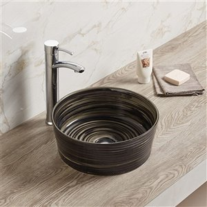 American Imaginations Round Vessel Bathroom Sink without Overflow Drain - 14.09-in - Black