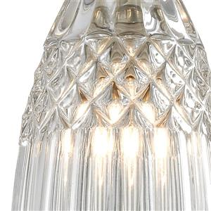 ELK Lighting Kersey Mini Pendant Light - 1-Light - Satin Nickel with Clear Crystal