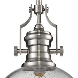 ELK Lighting Chadwick Pendant Light - 1-Light - 13-in - Satin Nickel with Glass