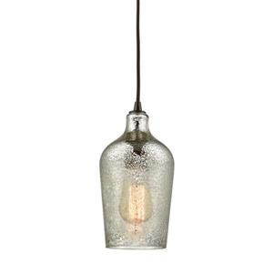 ELK Lighting Hammered Glass Mini Pendant Light - 1-Light - Oil Rubbed Bronze with Mercury Glass
