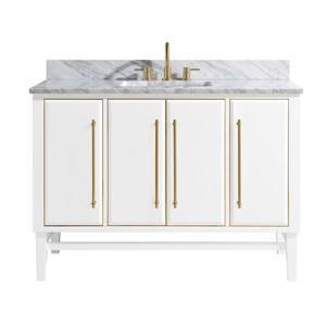 Avanity Mason Vanity - 49-in - Carrara White Marble Top - White/Gold