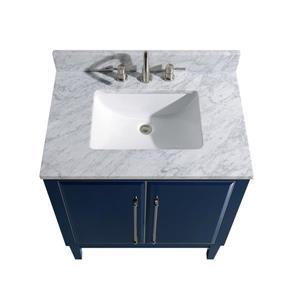 Avanity Mason Vanity - 31-in - Carrara White Marble Top - Navy Blue/Silver