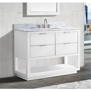 Avanity Allie 42-in Vanity - White with Silver Trim