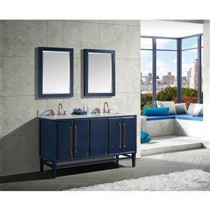 Avanity Mason Vanity - 61-in - Carrara White Marble Top - Navy Blue/Gold