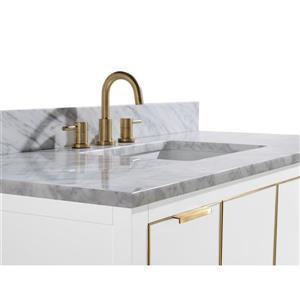 Avanity Austen Vanity - 49-in - Carrara White Marble Top  - White/Gold