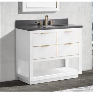 Avanity Allie Vanity - 37-in - Gray Quartz Top - White/Gold