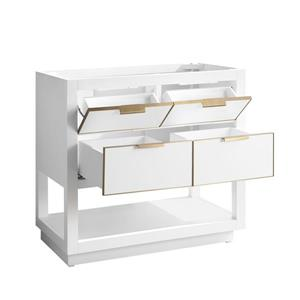Avanity Allie Vanity - 37-in - Carrara White Marble Top  - White/Gold