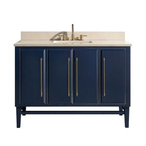 Avanity Mason Vanity - 49-in - Crema Marfil Marble Top - Navy Blue/Gold