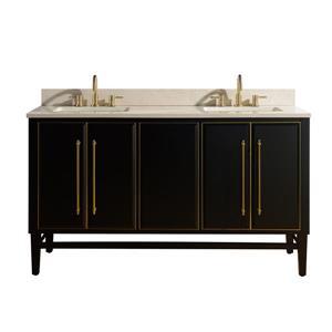 Avanity Mason Vanity - 61-in - Crema Marfil Marble Top - Black/Gold