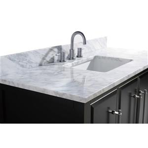 Avanity Mason Vanity - 49-in - Carrara White Marble Top - Black/Silver