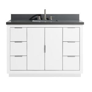 Avanity Austen Vanity - 49-in - Gray Quartz Top - White/Silver