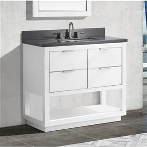 Avanity Allie Vanity - 37-in - Gray Quartz Top - White/Silver
