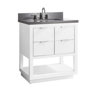 Avanity Allie Vanity - 31-in - Gray Quartz Top - White/Silver