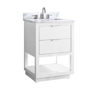 Avanity Allie Vanity - 25-in - Carrara White Marble Top  - White/Silver