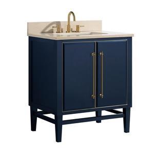 Avanity Mason Vanity - 31-in - Crema Marfill Marble Top - Navy Blue/Gold
