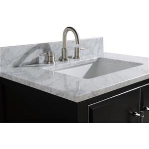 Avanity Mason Vanity - 31-in - Carrara White Marble Top - Black/Silver