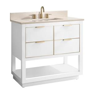 Avanity Allie Vanity - 37-in - Crema Marfil Marble Top - White/Gold