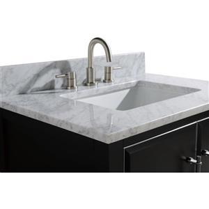 Avanity Mason Vanity - 25-in - Carrara White Marble Top - Black/Silver
