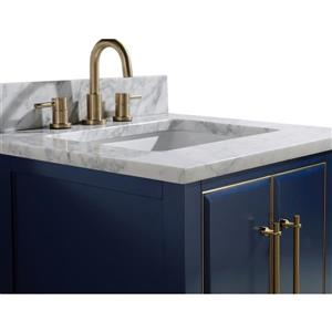 Avanity Mason Vanity - 25-in - Carrara White Marble Top - Navy Blue/Gold