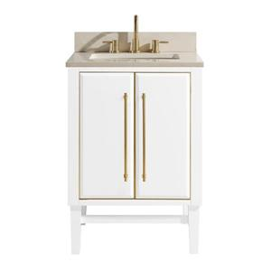 Avanity Mason Vanity - 25-in - Crema Marfill Marble Top - White/Gold