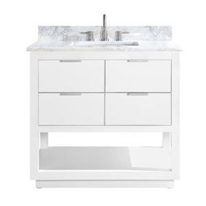 Avanity Allie Vanity - 37-in - Carrara White Marble Top  - White/Silver