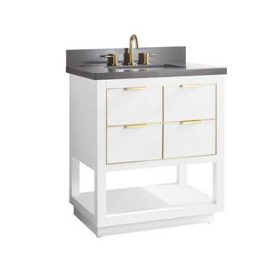 Avanity Allie Vanity - 31-in - Gray Quartz Top - White/Gold