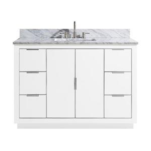 Avanity Austen Vanity - 49-in - Carrara White Marble Top  - White/Silver
