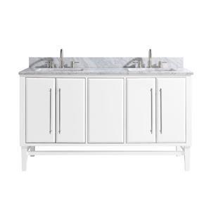 Avanity Mason Vanity - 61-in - Carrara White Marble Top - White/Silver