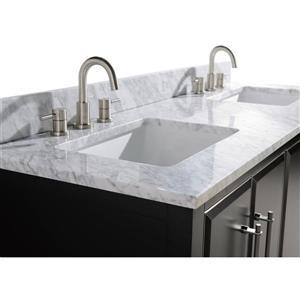 Avanity Mason Vanity - 61-in - Carrara White Marble Top - Black/Silver