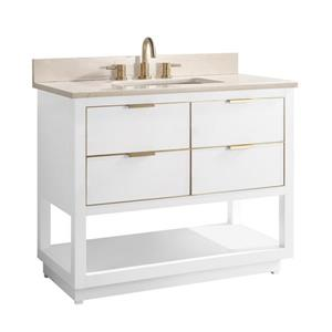 Avanity Allie Vanity - 43-in - Crema Marfil Marble Top - White/Gold