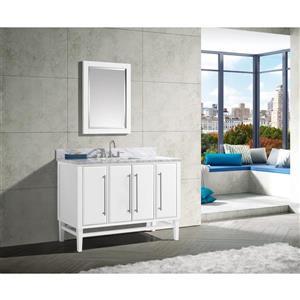 Avanity Mason Vanity - 49-in - Carrara White Marble Top - White/Silver
