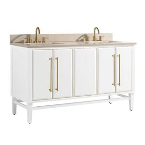 Avanity Mason Vanity - 61-in - Crema Marfill Marble Top - White/Gold