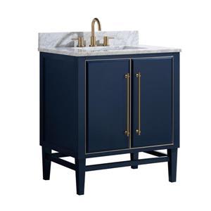 Avanity Mason Vanity - 31-in - Carrara White Marble Top - Navy Blue/Gold