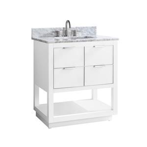 Avanity Allie Vanity - 31-in - Carrara White Marble Top  - White/Silver