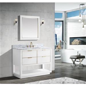 Avanity Allie Vanity - 43-in - Carrara White Marble Top  - White/Gold