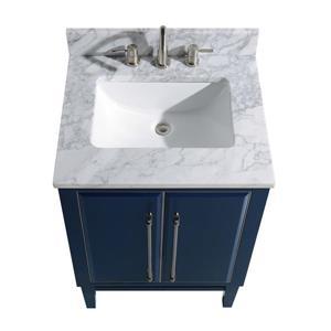 Avanity Mason Vanity - 25-in - Carrara White Marble Top - Navy Blue/Silver