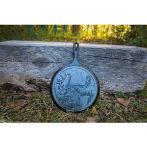 Lodge Wildlife Moose Round Cast Iron Griddle - 10.5-in