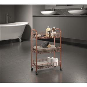 Metaltex Ascona Multipurpose Storage Cart - 3-Tier - Copper