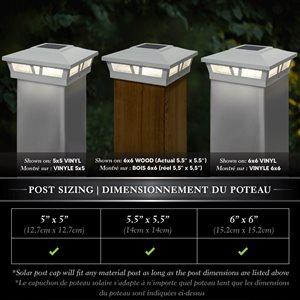 Classy Caps Oxford Solar Post Cap - Aluminium - 6-in x 6-in - White