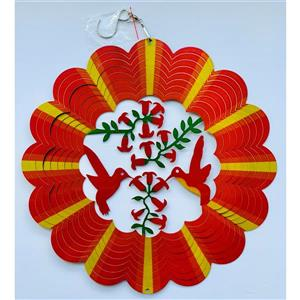 Dundee Deco Falkirk Wind Spinner - Hummingbirds - Red and Yellow