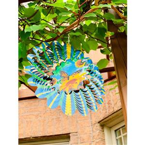 Dundee Deco Falkirk Wind Spinner - Butterfly - Blue and Yellow