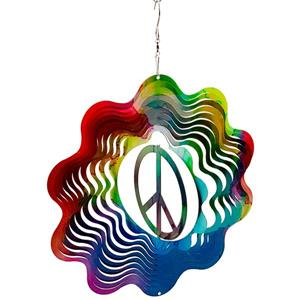Dundee Deco Falkirk Wind Spinner - Peace - Rainbow
