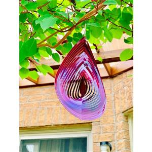 Dundee Deco Falkirk Wind Spinner - Rain Drop - Red and Pink