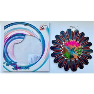 Dundee Deco Falkirk Wind Spinner - Hummingbird and Flowers - Red and Pink